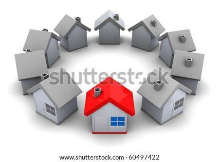 abstract 3d illustration of houses circle, home choice concept - stock photo