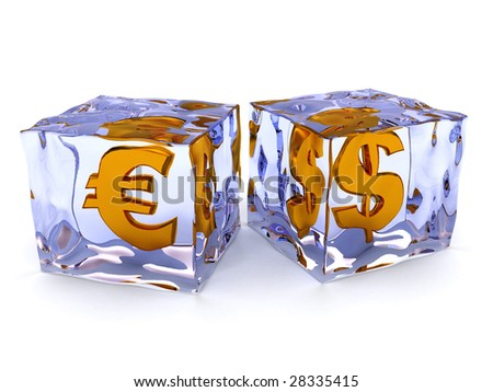 abstract 3d illustration of ice cubes with money signs inside - stock photo