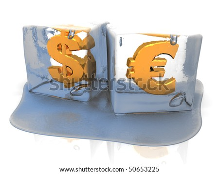 abstract 3d illustration of ice cubes with money signs inside