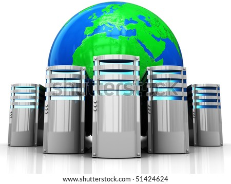 abstract 3d illustration of internet servers and earth globe