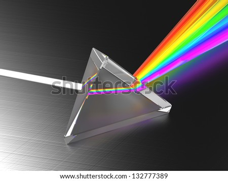 abstract 3d illustration of light dividing prism - stock photo