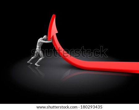 abstract 3d illustration of man pushing arrow, over black background - stock photo