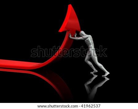 abstract 3d illustration of man pushing red arrow uppward - stock photo