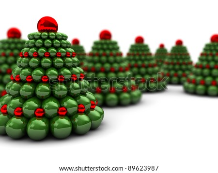 abstract 3d illustration of many christmas trees - stock photo