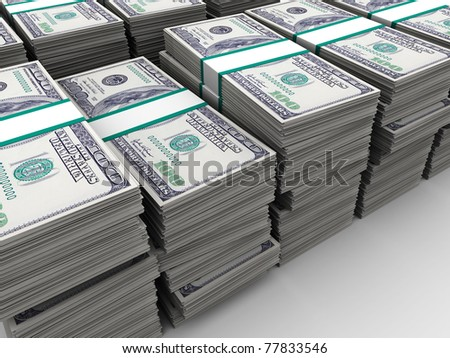 abstract 3d illustration of many dollars background - stock photo