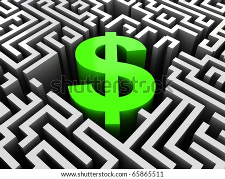 abstract 3d illustration of maze with dollar sign in center - stock photo