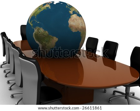 abstract 3d illustration of meeting room and earth globe - stock photo