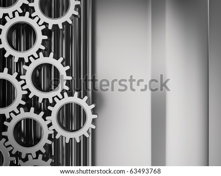 abstract 3d illustration of metal background with gear wheels system - stock photo