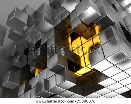 abstract 3d illustration of metal cubes background - stock photo