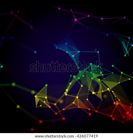 Abstract 3D illustration of molecular structure on the dark background. Connected colorfully lines with dots. Concept of the science, connection, chemistry, biology, medicine, technology.