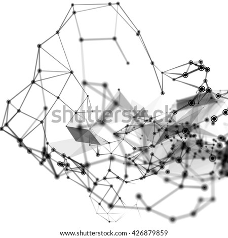 Abstract 3D illustration of molecular structure on white background with particle, chemical concept.