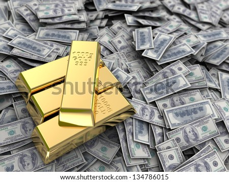 abstract 3d illustration of money with golden bars - stock photo