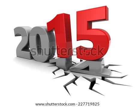 abstract 3d illustration of new year 2015  - stock photo