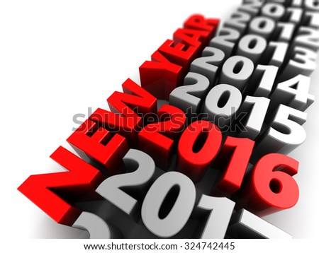 abstract 3d illustration of 2016 new year sign