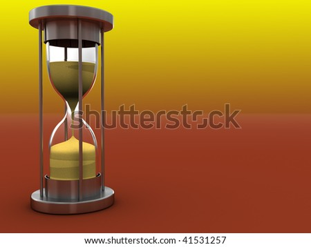 abstract 3d illustration of orange background with hourglass at left side - stock photo