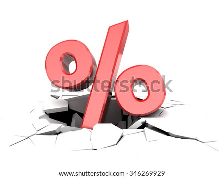 abstract 3d illustration of percent symbol fall to hole - stock photo