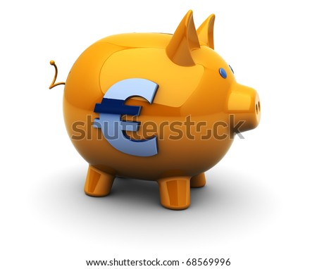 abstract 3d illustration of piggy bank with euro sign, over white background - stock photo