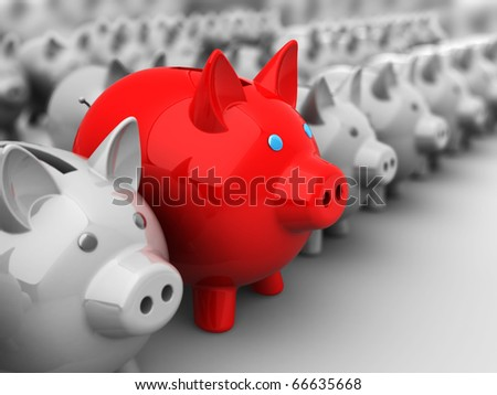 abstract 3d illustration of piggy banks crowd with one best