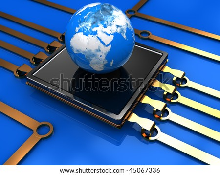 abstract 3d illustration of processor with earth globe - stock photo