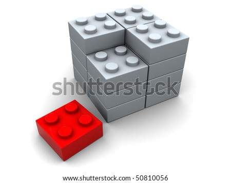 abstract 3d illustration of puzzle assembling with one red block - stock photo