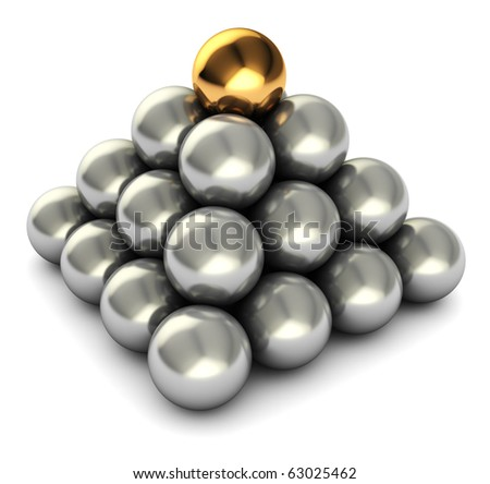 abstract 3d illustration of pyramid with steel and one golden balls - stock photo