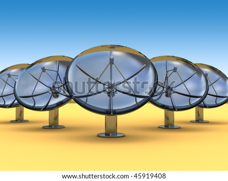 abstract 3d illustration of radio aerials in desert