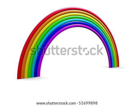 abstract 3d illustration of rainbow over white background