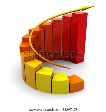 abstract 3d illustration of raising graph, orange and red colors - stock photo