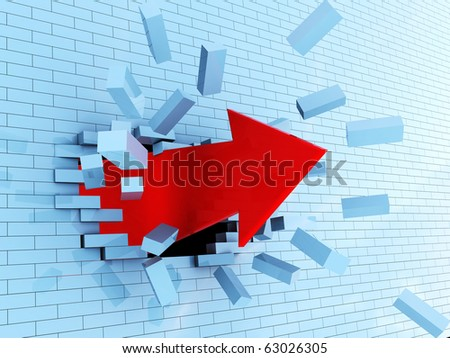 abstract 3d illustration of red arrow breaking blue bricks wall - stock photo
