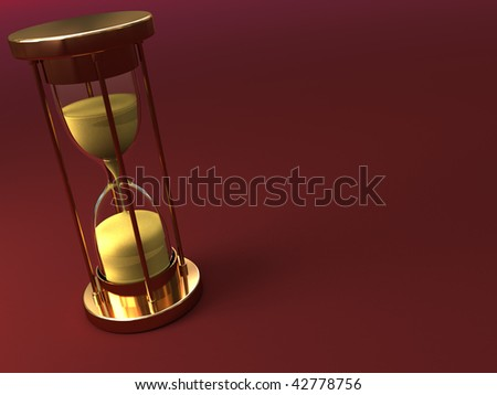 abstract 3d illustration of red background with hourglass - stock photo