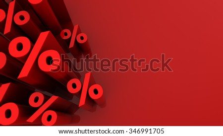 abstract 3d illustration of red background with percent signs at left side - stock photo
