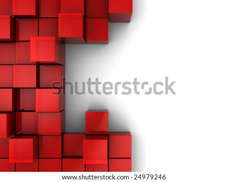 abstract 3d illustration of red cubes, blocks background - stock photo