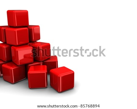 abstract 3d illustration of red cubes heap - stock photo