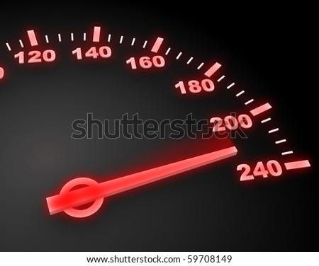 abstract 3d illustration of red light speedometer with high speed - stock photo