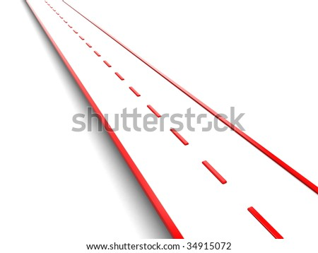 abstract 3d illustration of red road over white background