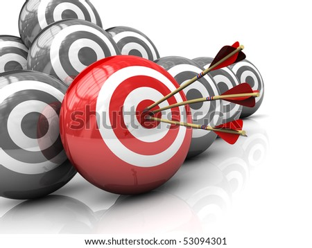 abstract 3d illustration of right target concept - stock photo