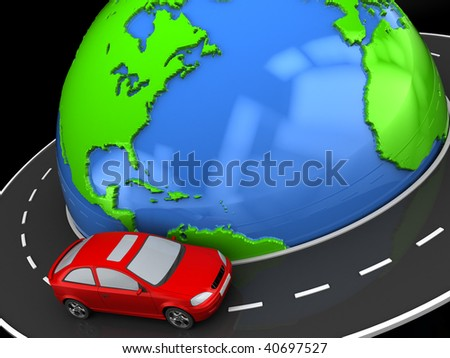 abstract 3d illustration of road around earth and car - stock photo