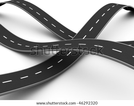 abstract 3d illustration of road knot over white background - stock photo
