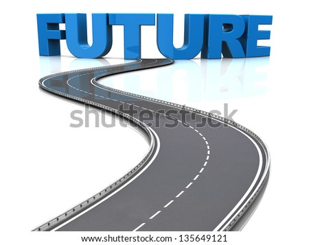 abstract 3d illustration of road to future concept - stock photo