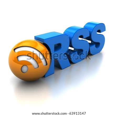 abstract 3d illustration of rss symbol or icon, over white background - stock photo