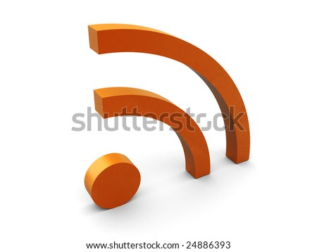abstract 3d illustration of rss symbol over white background - stock photo