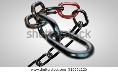 Abstract 3d illustration of rusty chrome chain with weak red link