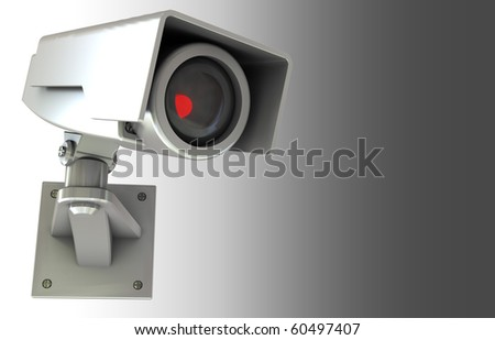 abstract 3d illustration of security camera background with copyspace - stock photo
