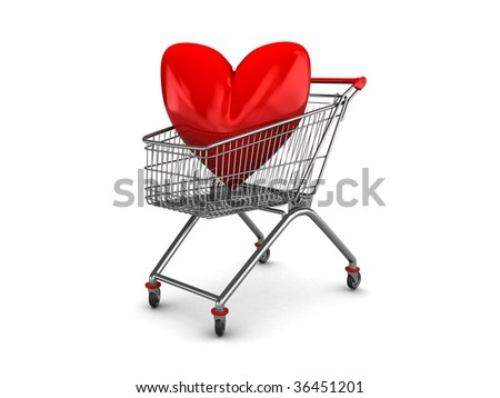 abstract 3d illustration of shopping cart with red heart symbol inside