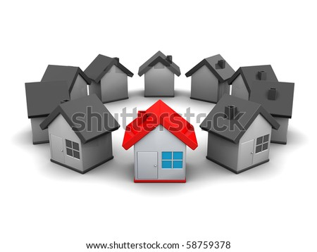 abstract 3d illustration of small houses ring, over white background - stock photo