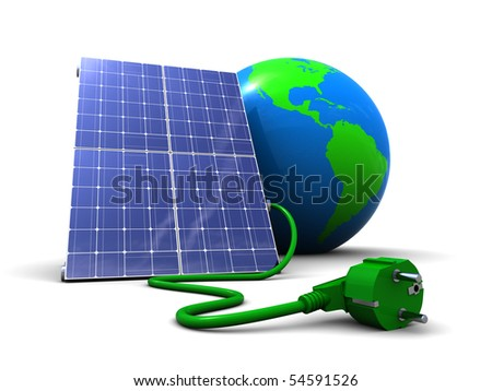 abstract 3d illustration of solar panel with earth globe, over white background - stock photo