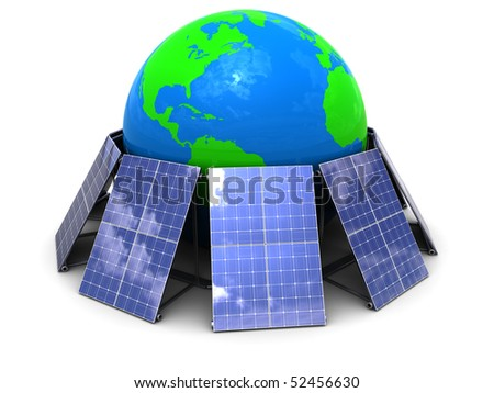 abstract 3d illustration of solar panels around earth globe - stock photo
