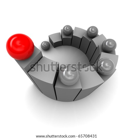 abstract 3d illustration of spiral stairway and red ball at top - stock photo