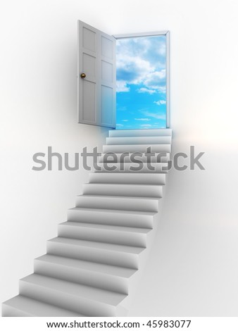 abstract 3d illustration of stairway and door to heaven - stock photo