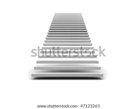 abstract 3d illustration of stairway  over white background - stock photo